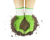 Two hands in gloves with soil Royalty Free Stock Photos
