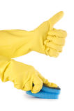 Two hands in gloves with sponge Royalty Free Stock Image