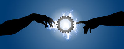 Two hands go toward a gear illuminated with lightning. Concept of creation and universal judgment that regulates the mechanisms of human beings and the cosmos Royalty Free Stock Image