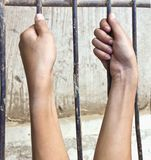 Two hands are grabbing steel cage Royalty Free Stock Photos