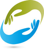 Two hands in green and blue, helper and hands logo Stock Photo
