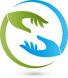 Two hands in green and blue, massage and orthopedic logo Stock Images