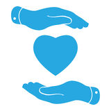 two hands hands with heart icon Stock Image