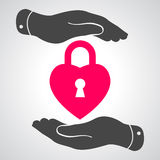 Two hands hands with heart lock shape illustration Stock Photo