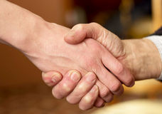 Handshake. Two hands in a handshake Royalty Free Stock Photo