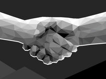 Two hands handshake polygonal low poly contract agreement monoch. Rome on dark background Royalty Free Stock Images