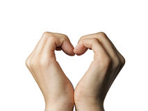 Two hands-heart color. Girl's hands serried in a heart shape on isolated background Royalty Free Stock Photography