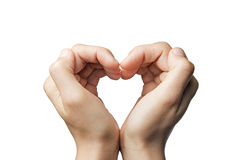 Two hands-heart. Girl's hands serried in a heart shape on isolated background Royalty Free Stock Photo