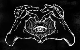 Two hands heart sign with all seeing eye symbol. Two hands making heart sign with all seeing eye symbol. Vision of Providence. Alchemy, religion, spirituality Royalty Free Stock Photography
