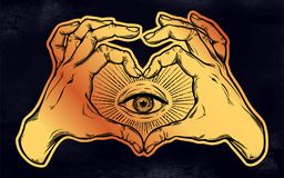 Two hands heart sign with all seeing eye symbol. Two hands making heart sign with all seeing eye symbol. Vision of Providence. Alchemy, religion, spirituality Royalty Free Stock Photos