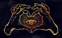 Two hands heart sign with all seeing eye symbol. Two hands making heart sign with all seeing eye symbol. Vision of Providence. Alchemy, religion, spirituality Royalty Free Stock Images