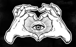Two hands heart sign with all seeing eye symbol. Two hands making heart sign with all seeing eye symbol. Vision of Providence. Alchemy, religion, spirituality Royalty Free Stock Image