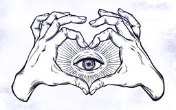Two hands heart sign with all seeing eye symbol. Two hands making heart sign with all seeing eye symbol. Vision of Providence. Alchemy, religion, spirituality Stock Image