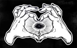 Two hands heart sign with black empty evil eye. Two hands making heart sign with black empty evil eye crying watery tears. Alchemy, religion, spirituality Royalty Free Stock Photos