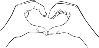 Two hands with heart sign Stock Photo