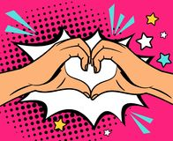 Two hands heart sign. Two human hands making heart sign, pop art style vector illustration Royalty Free Stock Photography