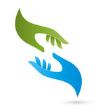 Two hands, helper and medicine logo Stock Photos