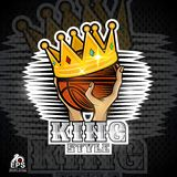 Two hands hold basketball ball with golden crown. Sport logo for any team. Or competition vector illustration
