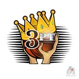Two hands hold basketball ball with golden crown and three-point. Vector sport logo isolated on white. For any team or competition royalty free illustration