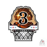Two hands hold basketball ball with number 3 above basket. Sport logo for any team or competition isolated. On white stock illustration
