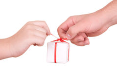 Two hands hold  box with  gift. On  white background Royalty Free Stock Photo