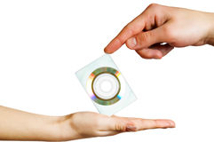 Two hands hold a disc Royalty Free Stock Images
