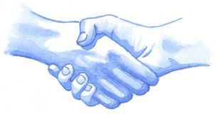 Two hands hold each other for an agreement stock photo