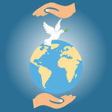 Two hands hold the Earth together with the dove of peace Stock Images