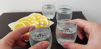 Two hands hold glasses with vodka stock image