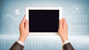 Two hands hold tablet pc Royalty Free Stock Photo