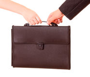 Two hands holdging bag isolated Stock Photography