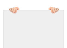 Two hands holding big blank Stock Photography
