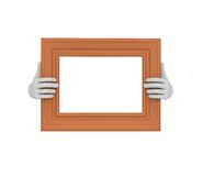 Two hands holding a brown rectangular picture frame. 3d. Isolate Royalty Free Stock Image
