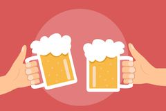 Two hands holding and clinking with beer glasses mug Stock Images