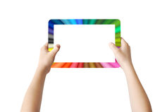 Two hands holding colorful Tablet. Two hands holding colorful frame Tablet, touchscreen, isolated, clipping path Stock Image