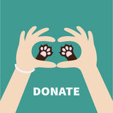 Two hands holding cute cat dog paw print. Love and care pet animals. Helping hand concept. Donate text. Flat design. Green. Background. Template. Vector Royalty Free Stock Photos