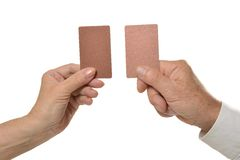 Two hands holding empty blank cards royalty free stock photo