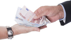 Two Hands Holding European Money Stock Photography