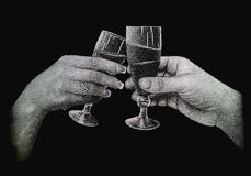 Two hands holding glasses of champagne. Real engraving on the polished granite Royalty Free Stock Image