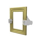 Two hands holding a gold rectangular picture frame. 3d. Isolated Stock Photo