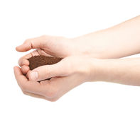 Two hands holding a handful of ground soil Royalty Free Stock Image