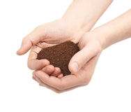 Two hands holding a handful of ground soil Stock Photography