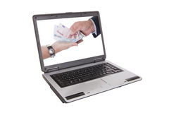 Two Hands Holding Money Royalty Free Stock Images