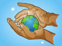 Two hands holding planet Earth, cherish the globe,  illustration. Two hands holding planet Earth, cherish the globe, hand drawn  illustration Stock Image