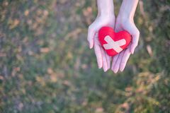 Two hands holding red heart with plaster with green grass background. Concept Give love stock photography