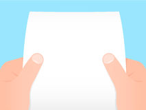Two hands holding a sheet of paper. Two hands holding a blank sheet of paper stock illustration