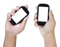 Two hands holding smart phone Stock Image