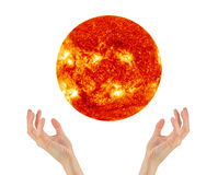 Two hands holding a star sun NASA Royalty Free Stock Images