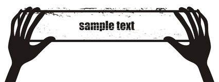 Two hands holding strip. An illustration of black and white banner with hands/ eps file attached Stock Photography