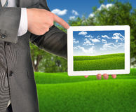 Two hands holding tablet pc Royalty Free Stock Image